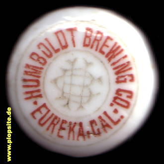 Picture of a ceramic bottle cap from: Humboldt Brewing Co., Eureka, CA, USA