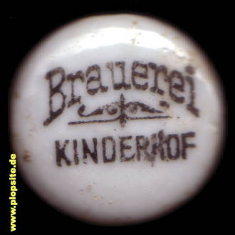 Picture of a ceramic bottle cap from: Brauerei Kinderhof, Gerdauen, Schelesnodoroschny, Железнодорожный, Russia