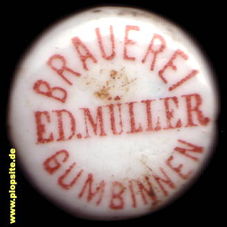Picture of a ceramic bottle cap from: Brauerei Eduard Müller, Gumbinnen, Gussew, Гусев, Russia