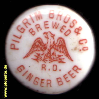 Picture of a ceramic bottle cap from: Pilgrim Brothers & Co. Ginger Beer, Hamilton, Canada