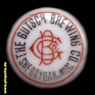 Picture of a ceramic bottle cap from: Gutsch Brewing Co., Sheboygan, WI, USA